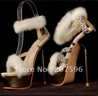 2012 new white fur damiond Satin Sandals TOP quality women's high heels fashion evening Red Bottoms shoes pumps boots platform