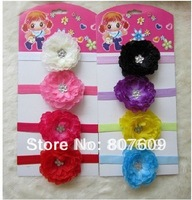 "New Arrival 3.5"" Children's Hair Accessories baby Girls Peony Flower Clip +Hair Headbands"