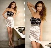 Free shipping women fashion heart lace bust sexy luxury slim hip one-piece dress evening dresses Skinny sexy dress size:S-L C067