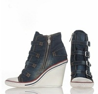 THELMA-BIS ASHSHOES WEDGE SNEAKER BLUE DENIM ON HOT SALE