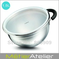 1.5L Mixing bowl with handle brand new 18/10 stainless steel color giftbox H0061