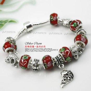 2012 New Arrival Item European Style Snake Chain Silver 925 Charmilia Beads Bracelet For Wemen Fashion Jewelry PA1217