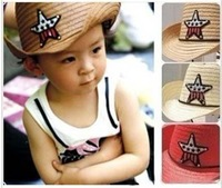 54cm Korean boys and girls sun hat / cowboy pentacle children straw hats, three-color, 5pcs/lot, Free Shipping