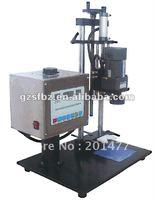 Semi-automatic cap machine for flat top plastic cover