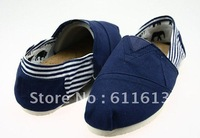 Free shipping New Men and women stripe spell color recreational canvas shoes (5 pairs/lots)5 Pieces