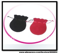 Free shipping !!! 7X9cm black and red Velvet Gift Pouch/Jewelry Bag/Fabric cloth sack