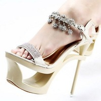 22012 New Design Summer Ladies High Heel Shoes Platform Fish Mouth Sandal, Europ Night Club Diamond Super High Heel Shoes