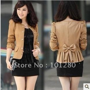 In stock free shipping 2014 women high quality slim coat short design fashion blazer elegant casual jacket  E7