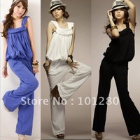 FREE SHIPPING Fashion mm slim jumpsuit wide leg pants loose trousers female plus size jumpsuit 2012  P936