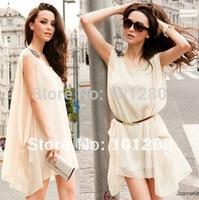 2014 new casual loose irregular chiffon elegant evening party women's dresses knee-length tank dress  FREE SHIPPING D061