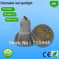 Free shipping 3*1W dimmable led spot light GU10 led bulb with high power led 100-240V 300lm energy saving for infoor light