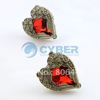 Free Shipping New Fashion Pretty Old Bronze Plated Pair Red Crystal Heart Love Wing Earrings