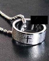 Men Titanium Steel Corss Bible  Necklace #A88