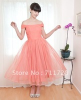 2012 Simple Classic Vintage Pleated Bodice Off The Shoulder A-Line Tea Length Satin Organza Tulle And Chiffon Homecoming Dresses
