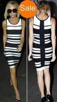 Fashion HL Bandage Women's Ladies Dresses White and Black Stripes Tank Classic Style Evening Party Dress Promotion Sale HL6153