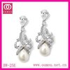 2012 Best Seller New Style 12pcs/lot Free Shipping Clear Crystal Earring With Top Quality Pearl BW-25E