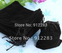 Free Shipping Wholesale 100pcs 12*10Cm Black Velvet Gift Drawstring Pouch Bags, Fashion Gift Bag