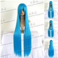 Promotional!!100cm Blue long straight lenght cosplay costume wig.Natural real hair.Free shipping