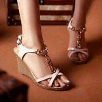 Free Shipping 2012 New Arrivals Ladies Rhinestone Wedge Sandals Fashion Rome Sandals Cross Strap Platforms Chain Pumps