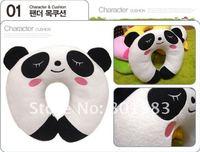 Wholesale Cute Cartoon Chinese Panda U Shape Neck Rest Pillow .100 % cotton and plush , memory foam ,decorative and  therapy