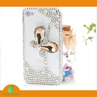 BRAND PHONE CASE-Fashion Imiated Smoky Crystal Butterfly Bling Rhinestone Cell Phone Cover Case For iPhone 4/4S,FREE SHIP
