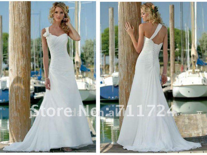 White Chiffon Corset Casual Beach Wedding Dresses 2012 In Wedding Dresses From Weddings Amp Events