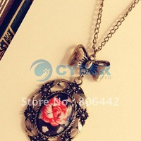 Free Shipping New Fashion 1pcs Vintage Bow Rose Flower Pendant Long Style Necklace Coat Chain