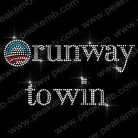Free Shipping 30pcs/Lot Custom Design Available Obama Runway To Win Bling Hot Fix Rhinestone Transfers Iron On