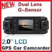 Free shipping Carcam X8000 Car DVR Dual Lens of 140 Degree wide angle with GPS Logger Recorder G-sensor Car DVR
