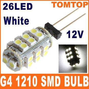 Free shipping 5pcs/lot G4 26 White/Warm White SMD LED 1210 Light Home Car RV Marine Boat Lamp Bulb DC-12V Wholesale