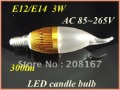 20pcs/Lot LED Bulb Lamp Candle E12/E14 3W 300lm White/Warm white Free Shipping