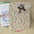 Free ship 20pc/Lot 138-1 Size L 23.5*10*32CM candy gift bag with flower print promot birthday paper packing boutique wedding bag