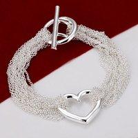 H066 Wholesale 925 Silver Bracelets Multilayer heart ID Prata pulseras designer new 2014 Innovative items