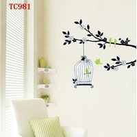 Free shipping, flower&plants wall stickers TC981 CAGE & TREE PEEL&STICK DECOR WALL PAPER STICKER 330x600mm,3PCS