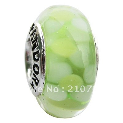 Wholesale-Free shipping.10pcs/lot Authentic Murano Glass beads 925 ALE core and black font logo.PZ229(China (Mainland))