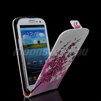 FREE SHIPPING PLUM FLOWER PATTERN STYLE LEATHER FLIP POUCH CASE COVER FOR SAMSUNG GALAXY S3 SIII I9300 37 MOBILE PHONE CASE