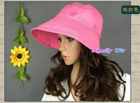 Free shipping!New fashion Women 13 Colors Women Collapsible Wide Brim Hat Summer Beach Sun Hat UV Protection Hat