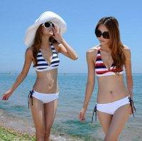 Free shipping 1pcs bikini,Stripe swimsuit bikini swimsuit triangle lovely cultivate one's morality swimsuit,Y036