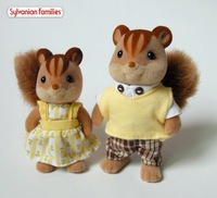 Wholesale - Sylvanian families family JP Walnut Squirrel 2 pcs in dress free shipping