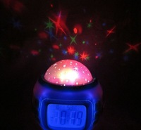 Projection Music Clock Alarm Clocks Novelty Night Light Color Change LED Star Projector