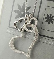 Hot sale, F4164 Silver Plated 3 Love Heart Sand frosted Girl Pendant Necklace, Bohemian Vintage lady Woman Jewelry Free Shipping