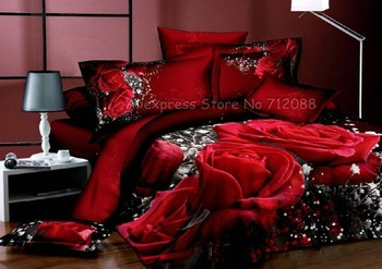 New queen/full Cotton bed in a bag sets gorgeous red rose pattern red Printed Duvet quilt covers 4 pcs with sheets bedlinen