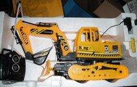 Toy Excavator Bulldozer Construction Vehicle BACK HOE REAR SHOVEL with yellow