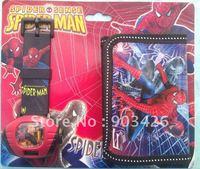 Free shipping! fashion cartoon watch set spiderman children projection watch set (watch +wallet) G1479 on sale wholesale