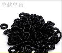 Free Shipping 100pcs/lot black  telephone line hair ring