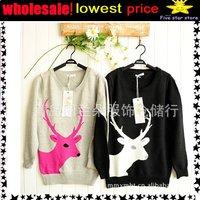 50%discount!woolen round collar knitwear,weave sweater, women clothes, christmas women lovely deer long sweater (NXL002-1)