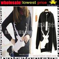 lowest price,wholesale!! collar knitwear,weave sweater, women clothes, christmas women lovely deer long sweater (NXL002-5)