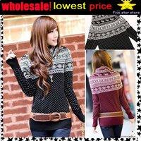 lowest price,wholesale!! collar knitwear,weave sweater, women clothes, christmas women lovely deer long sweater (NXL004-2)