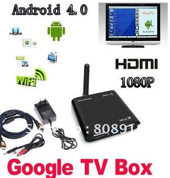 Allwinner A10 1.5 GHZ Mini Android 4.0 HD 1080P Smart  GOOGLE TV BOX Media Player  WIFI HDMI  USB  AV  TF Black