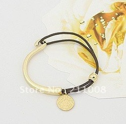 Free shipping,new vintage charm leather rope with coin bracelet / bangle , 12 pcs/lot , 2 colors(China (Mainland))